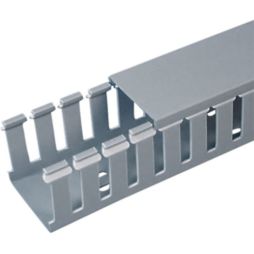 "PANDUIT Panduct™ Conducto de Cableado en Ranuras Estrechas Tipo F, 0.75 de ancho x 1.5 de alto, de 6"" de largo, de PVC, Gris Claro - F.75X1.5LG6"