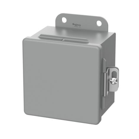 HOFFMAN Caja de conexiones, montaje en panel, acero, gris, 6x4x3 pulgadas, NEMA12, con bisagras, abrazadera de tornillo - A604CH