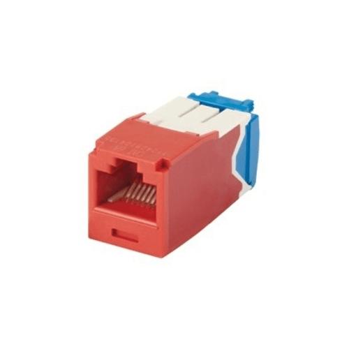 PANDUIT Módulo Mini-Com, Categoría 6A, UTP, 8 posiciones, 8 cables, cableado universal, rojo, estilo TG - CJ6X88TGRD