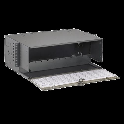 PANDUIT Caja de fibra de montaje en bastidor, 12 Puertos, Acero, Negro - FRME4