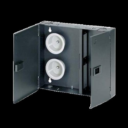 PANDUIT Caja de fibra de montaje en pared, Acero, 2 puertos, Negro - FWME2