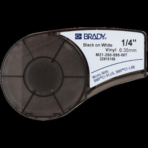 "BRADY Etiquetas de vinilo de 1/4"", Para interiores/exteriores, Cartucho - M21-750-595-WT"