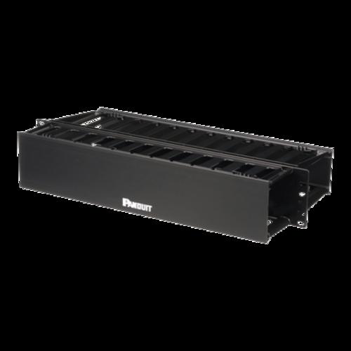 PANDUIT Gestora de cables horizontal, Doble cara, ABS, Negro - WMP1E