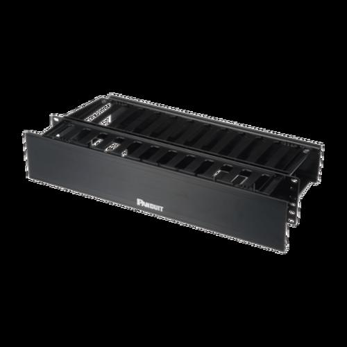 PANDUIT Organizador de cables horizontal, Doble cara, 2 UR, ABS, Negro - WMPH2E