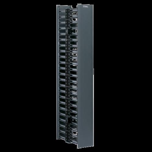PANDUIT Organizador de cables vertical, Doble cara, 45 UR, ABS, Negro - WMPV45E