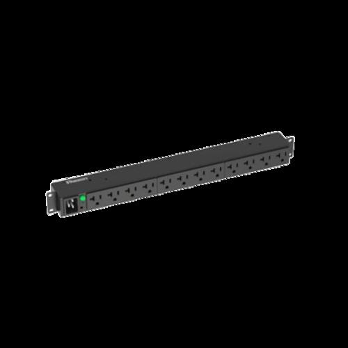 PANDUIT PDU monofásica horizontal de 20 amperios, 120 V, 12 Contactos, Negra - P12B30M
