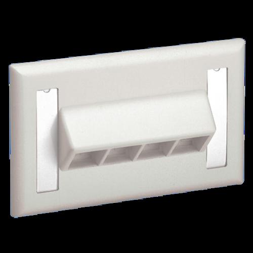 PANDUIT Placa frontal horizontal con etiquetas, Una salida, Inclinada, Blanco - NK4HSFIWY