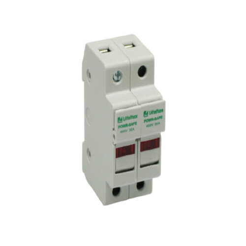 LITTELFUSE Bloque de fusibles, 2-P, 30A / 600V,  terminales de placa de presión, diseño de puerta con protección táctil, con indicador - LPSC002ID